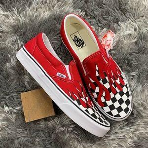Vans Classic Slip On Checker Flames Shoe